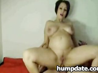 gorgeous pregnant maiden is on top and takes ass