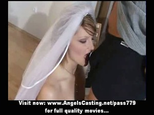 fresh hot blond bride charming talking and doing