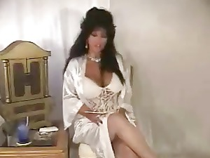 hot brunette older solo smoking in satin lingerie