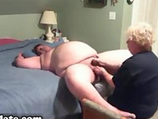 mature gives fat hubby fine handjob