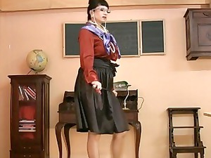 woman inside glasses and satin nylons takes horny