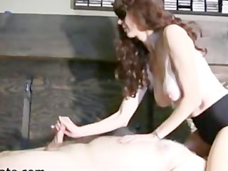 busty maiden gives a facesitting handjob