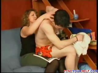 heavy grownup blond and man go at it and she