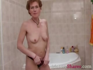 hairy cougar pees and obtains a shower