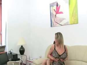 mature babe copulate on leather sofa
