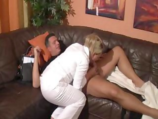 naughty grownup blonde licks cock and obtains