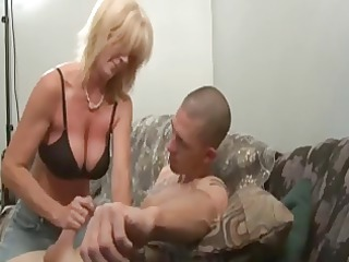 lovely milfs stroking man