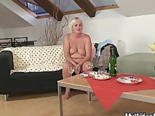 drunk group fuck with slutty old and her son into