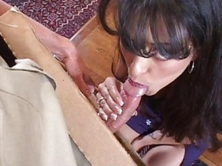 wonderful woman does fellatio for pizza male and