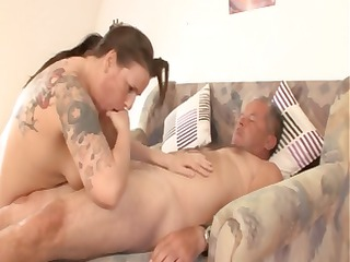fat mature german brunette with tattoos drives