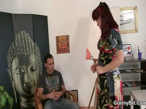 hot older chick jumps on his cock