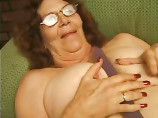 granny into glasses strips and enjoys
