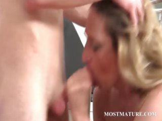 blonde milf acquires dong into oral and whore