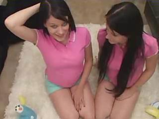 twins - teenage sisters being taught by father