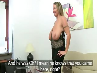 cougar babe fucking on leather couch
