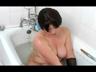slutty mature babe into the shower