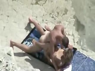 mature beach copulate movie scene of duo caught