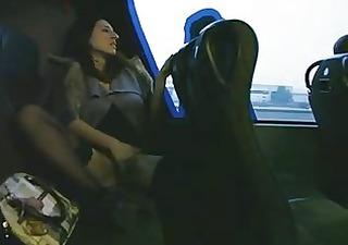 spouse plays on a al fresco bus