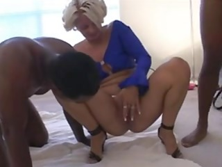 white woman creampied by two ebony fellows