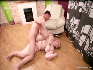 horny chubby albino woman gets spanked