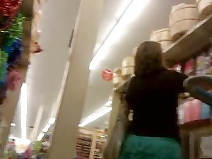 lady upskirt into the art store.