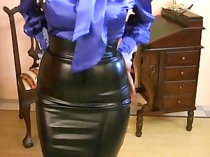 lady wearing tight satin dress