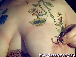 tattooed boobs milf with huge gauge nipple