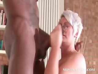stockinged older  copulates ebony uneasy  penis