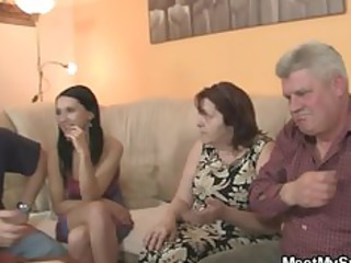 his gf is seduced by old milf and drilled by