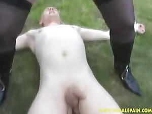 peeing granny bangs her slave outside!